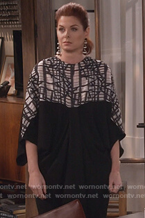 Grace's black and white drape dress on Will and Grace