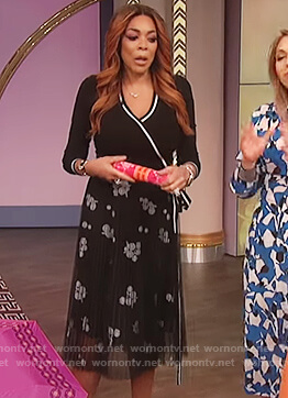 Wendy's black tie waist wrap top on The Wendy Williams Show