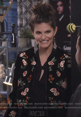 Leslie's black floral bomber jacket and studded pants on Living Biblically