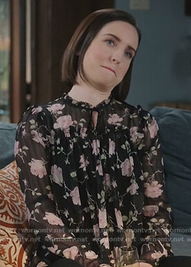 Jen's black rose print blouse on Life in Pieces