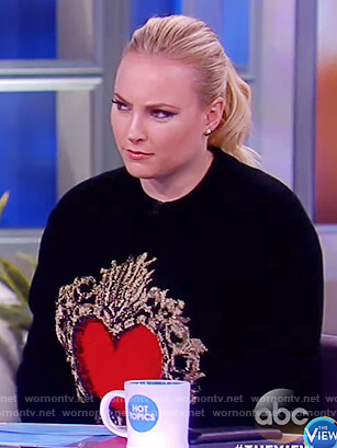 Meghan's black heart embellished sweater on The View