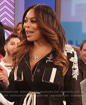 Wendy's black belted lace shoulder jacket on The Wendy Williams Show