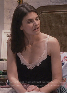 Leslie's black lace trim camisole on Living Biblically