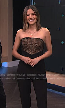 Erin's black strapless lace panel jumpsuit on E! News