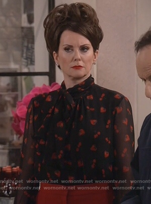 Karen's black strawberry print blouse on Will and Grace