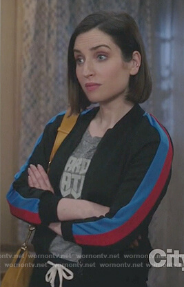 Jen's gray print t-shirt and track jacket on Life in Pieces