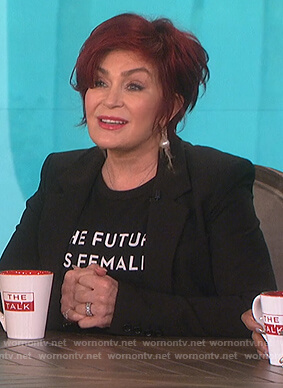 Sharon's black the future is female t-shirt on The Talk