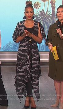 Eve's black tiger print wrap dress on The Talk