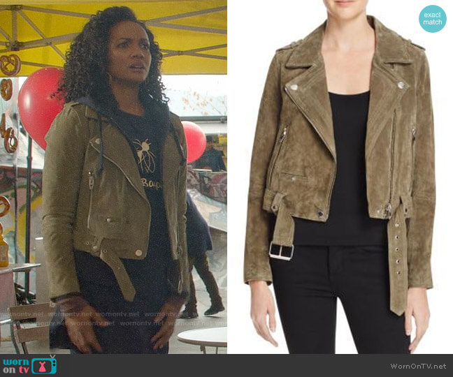 BlankNYC Suede Moto Jacket in Olive Green worn by Sabine (Mekia Cox) on OUAT