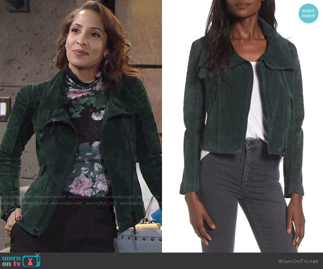 BlankNYC Crop Suede Moto Jacket worn by Christel Khalil on The Young & the Restless