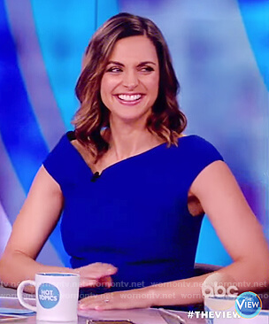Paula's blue asymmetric neckline top on The View