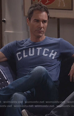 Will's blue clutch print t-shirt on Will and Grace