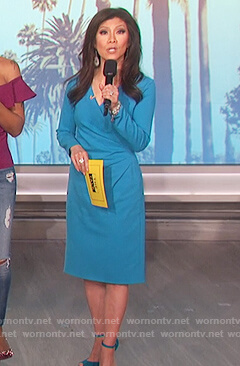 Julie's blue ruched long sleeve dress on The Talk