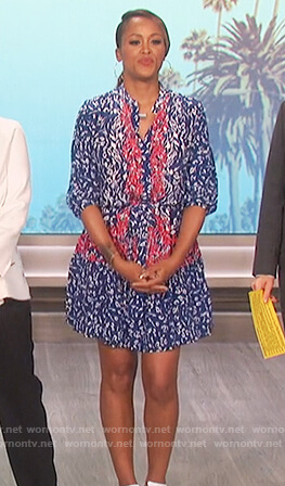 Eve's blue leopard print dress on The Talk