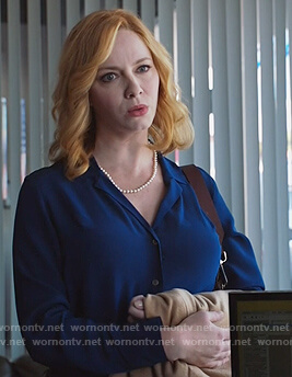 Beth's blue silk shirt on Good Girls