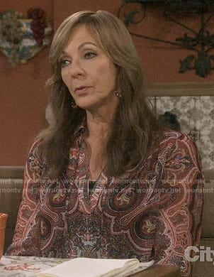 Bonnie's paisley blouse on Mom