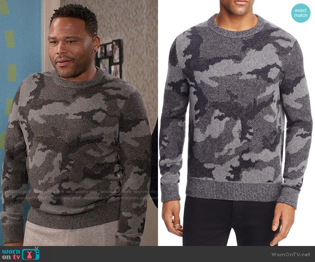 Boss Orange Armieto Camouflage Print Crewneck Sweater worn by Anthony Anderson on Blackish