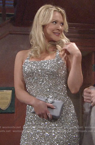 Brittany's silver sequin dress on The Young and the Restless