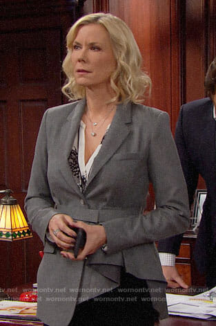 Brooke's grey belted blazer with ruffle on The Bold and the Beautiful