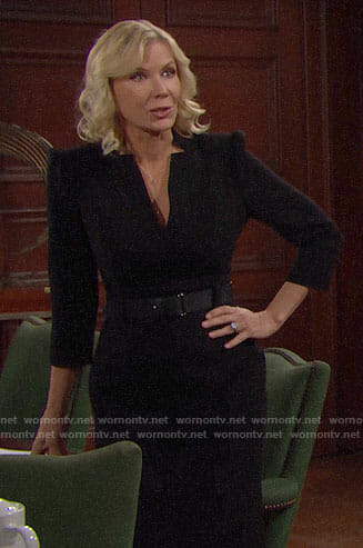 Brooke's black v-neck dress with belt on The Bold and the Beautiful