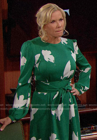 Brooke's green floral dress on The Bold and the Beautiful
