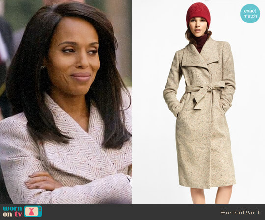 Brooks Brothers Flecked Herringbone Tweed Coat  worn by Kerry Washington on HTGAWM