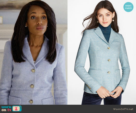 Brooks Brothers Herringbone Wool Jacket worn by Olivia Pope (Kerry Washington) on HTGAWM