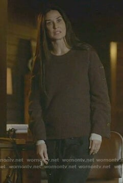 Claudia's brown button sleeve sweater on Empire