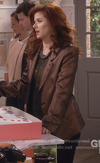 Grace's brown metallic blazer on Will and Grace