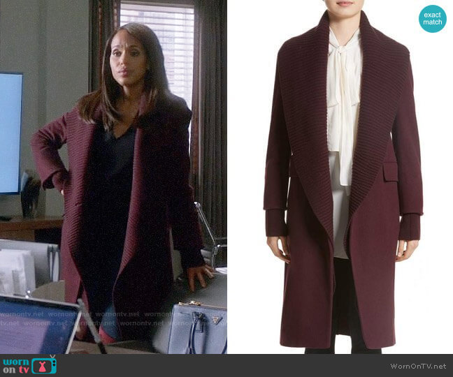 'Cairndale' Knit Trim Cashmere Coat by Burberry worn by Kerry Washington on Scandal