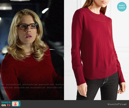 Burberry Cashmere Sweater worn by Emily Bett Rickards on Arrow