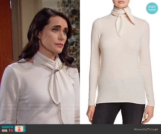 C By Bloomingdales Cashmere Tie-Neck Sweater worn by Rena Sofer on The Bold & the Beautiful