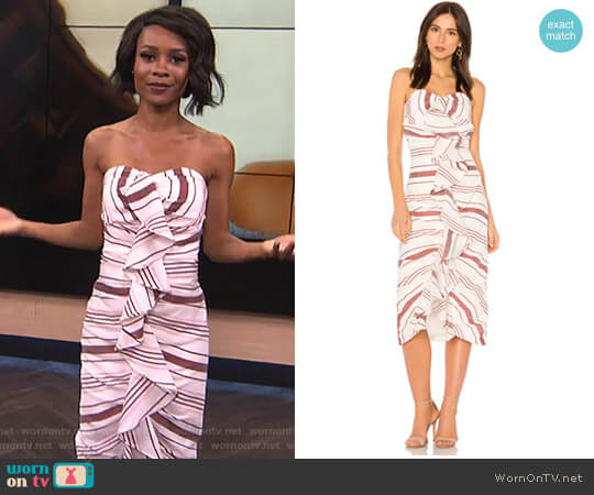 On Her Own Midi Dress by C/Meo Collective worn by Zuri Hall  on E! News