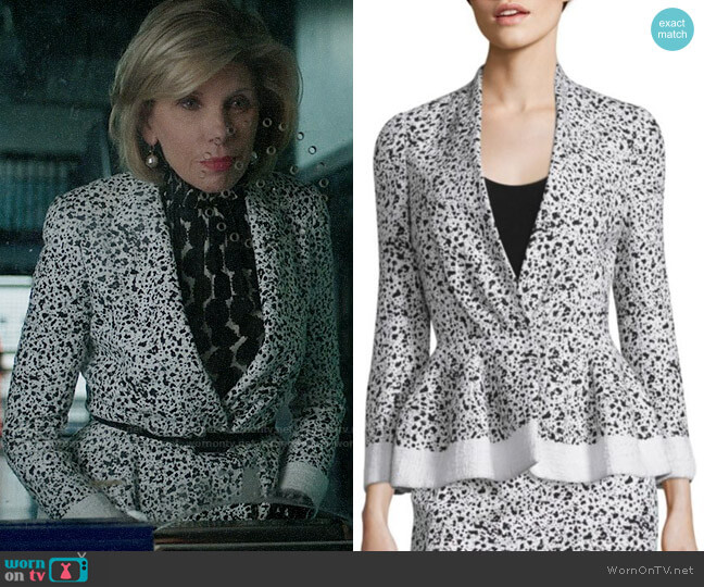 Carolina Herrera Splatter-Print Tweed Jacket worn by Christine Baranski on The Good Fight