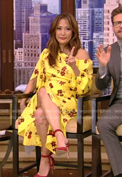 Carrie Inaba's yellow floral one shoulder dress on Live with Kelly and Ryan