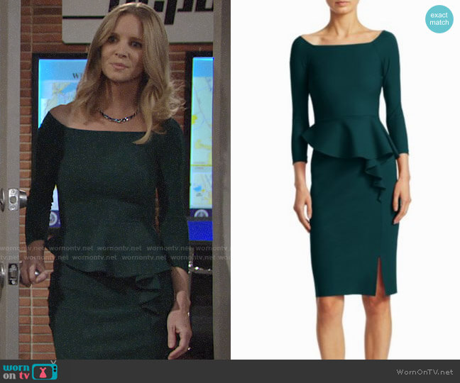 Chiara Boni La Petite Robe Peplum Dress worn by Christine Blair Williams (Lauralee Bell) on The Young & the Restless