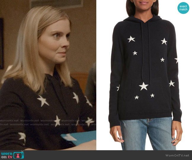 Chinti & Parker Star Cashmere Hoodie worn by Rose McIver on iZombie