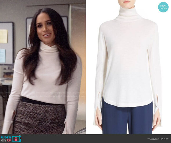 Chloe Split Sleeve Turtleneck Sweater worn by Meghan Markle on Suits