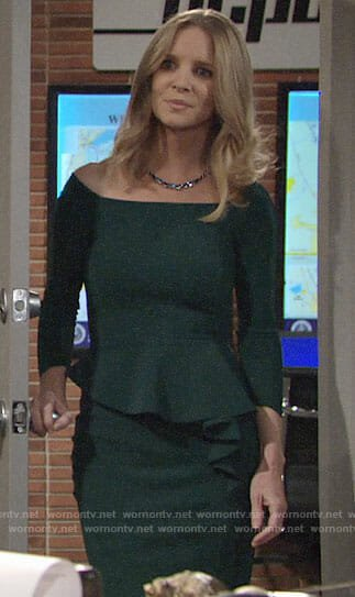 Christine's green peplum dress on The Young and the Restless