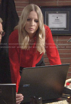 Christine's red tie neck blouse on The Young and the Restless