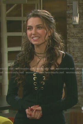 Ciara's black lace-up top with grommets on Days of our Lives