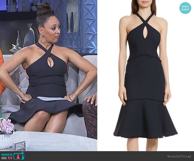 Dante Fit-&-Flare Halter Dress by Cinq a Sept worn by Tamera Mowry on The Real