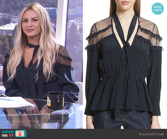 'Peyton' Tie Neck Silk Blouse by Cinq à Sept worn by Morgan Stewart  on E! News