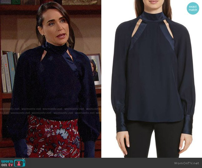Cinq a Sept Harper Blouse worn by Quinn Fuller (Rena Sofer) on The Bold & the Beautiful