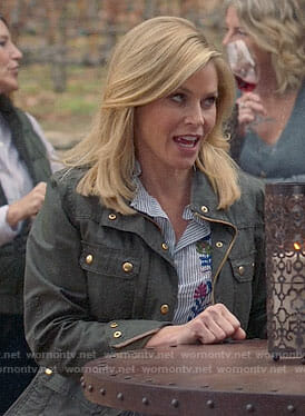 Claire's striped embroidered shirt and field jacket on Modern Family