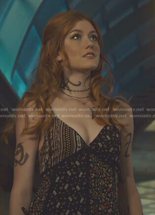 Clary's black floral patchwork dress on Shadowhunters