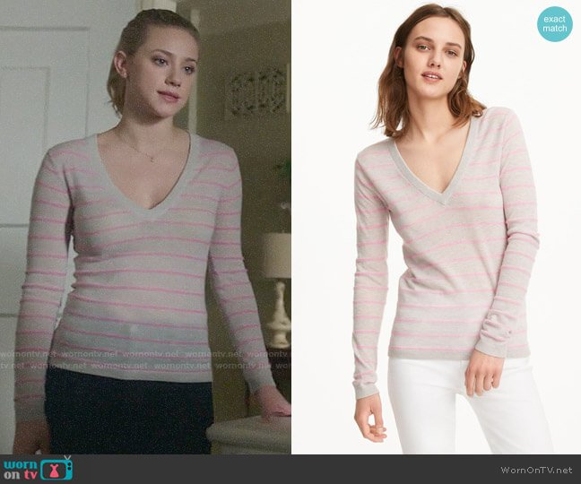 Club Monaco Kenzee Striped Sweater worn by Betty Cooper (Lili Reinhart) on Riverdale