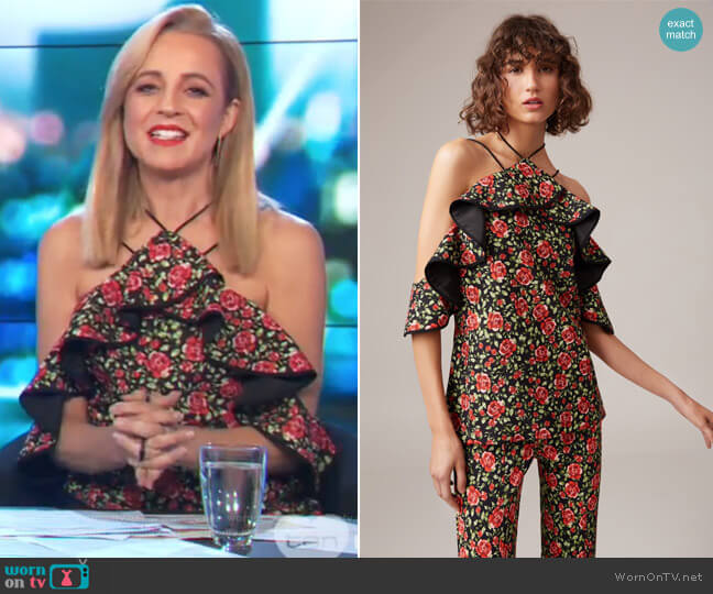 Outline Top by C/meo Collective worn by Carrie Bickmore on The Project
