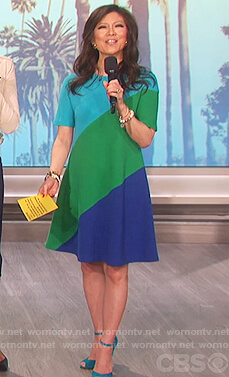 Julie's green and blue colorblock dress on The Talk