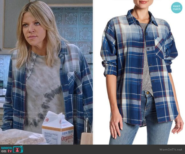 Current Elliott Plaid Boyfriend Shirt worn by Kaitlin Olson on The Mick